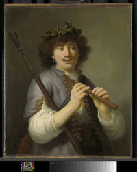 Rembrandt as shepherd with staff and flute