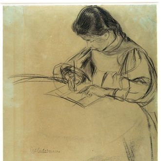 Girl writing at a table (recto), Sketch of a donkey (verso)