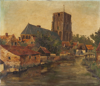 Townscape with church